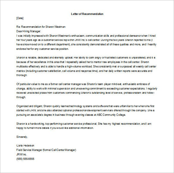 editable recommendation letter for employment from colleague word doc