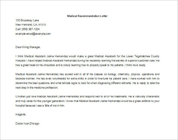 letter of recommendation samples for employment 11 recommendation letters for employment free sample 23058 | Letter of Recommendation for Employment in the Medical Field