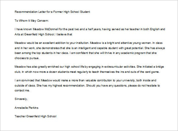 letter of recommendation for high school student example