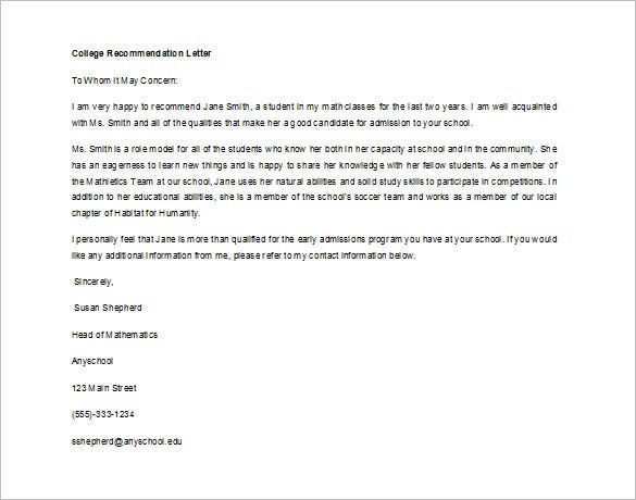 sample recommendation letter for student for college