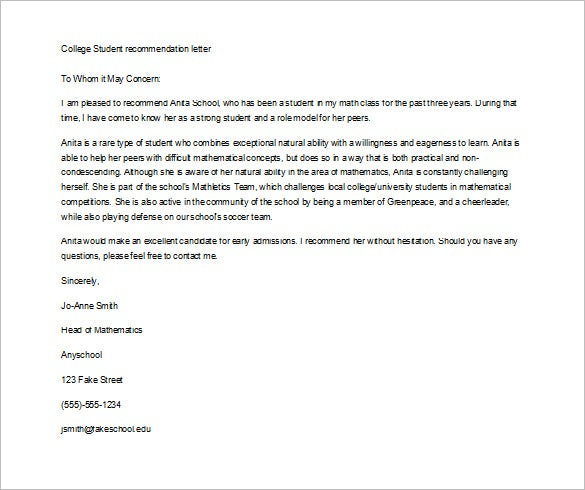 recomendation letter for student
