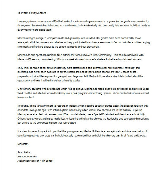 9 Letter of Recommendation for Student Free Sample Example – Template Recommendation Letter for Student