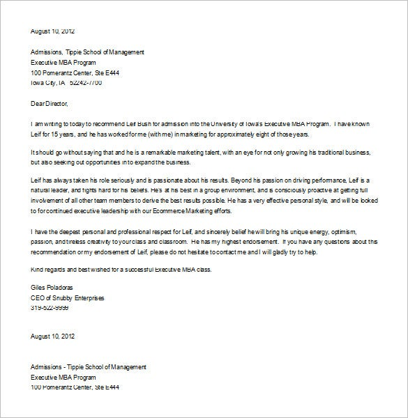 sample letter of recommendation for student leadership format