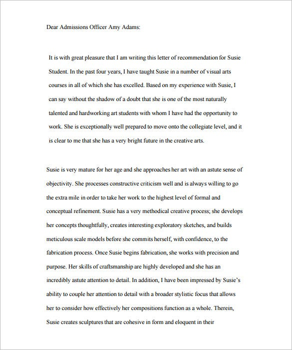 letter of recommendation for student admission pdf format