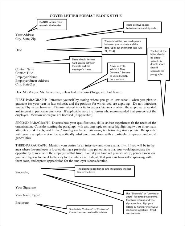 Cover Letter Format Block Style  Format Of Cover Letter