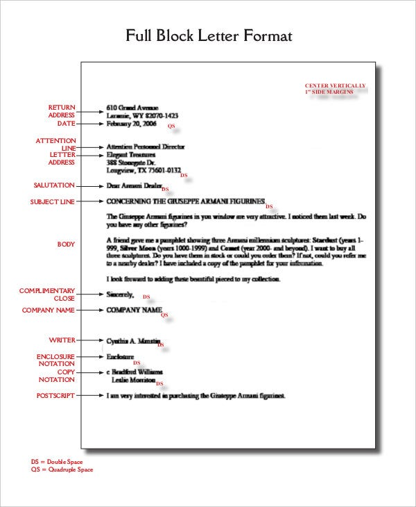 Block letter format template 8 free word pdf documents download full block letter format accmission Images