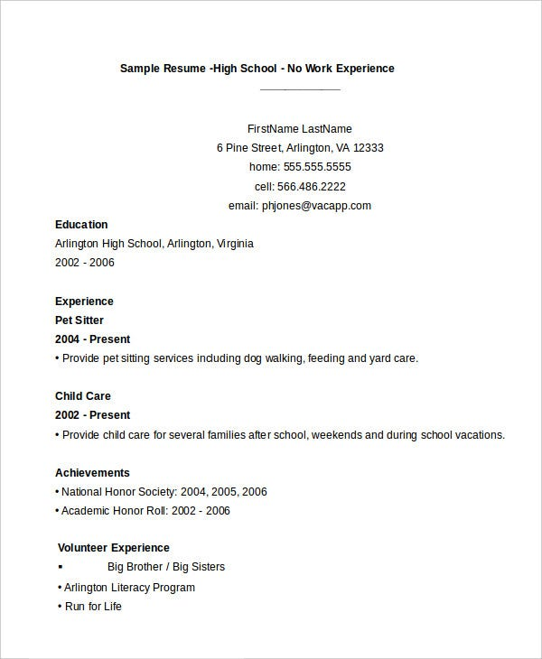 High School Resume Samples  Sample Resume And Free Resume Templates
