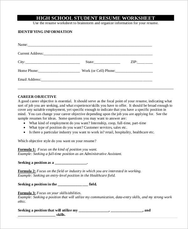 High School Student Resume - 7+ Free Word, Pdf Documents Download