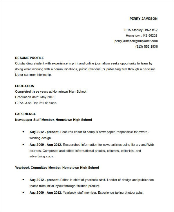 sample-resume-for-high-school-student-academic