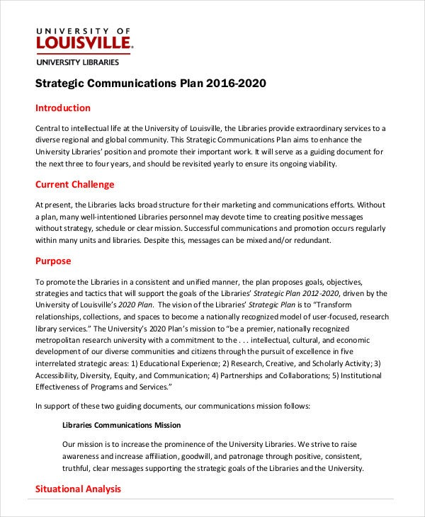 strategic communications plan template