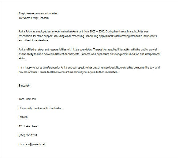editable job recommendation letter for employee