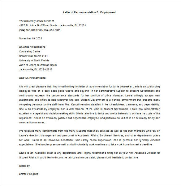 9 Job Recommendation Letters Free Sample Example Format – Template Letter of Recommendation for Employment