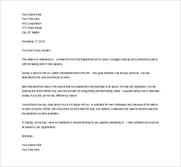 Job Recommendation Letter Employment Recommendation Letter For – Job Reference Letter Template