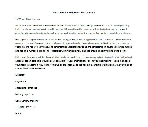download letter recommendation template nursing job