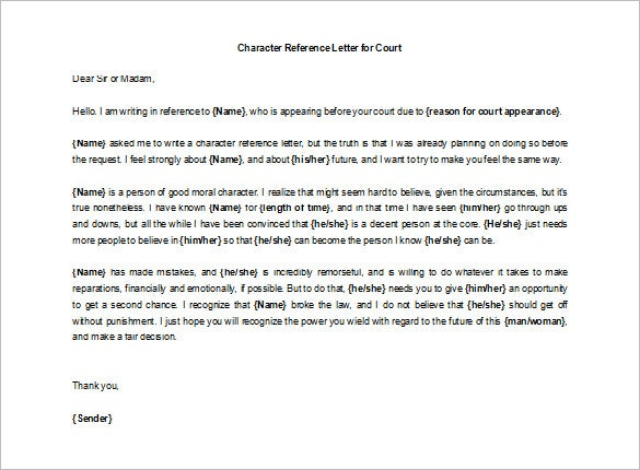 Marvelous Editable Character Reference Letter For Court Example