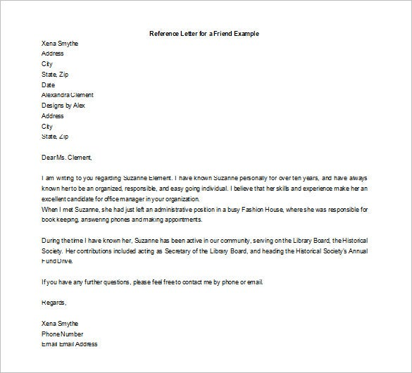 sample personal recommendation letter for a friend