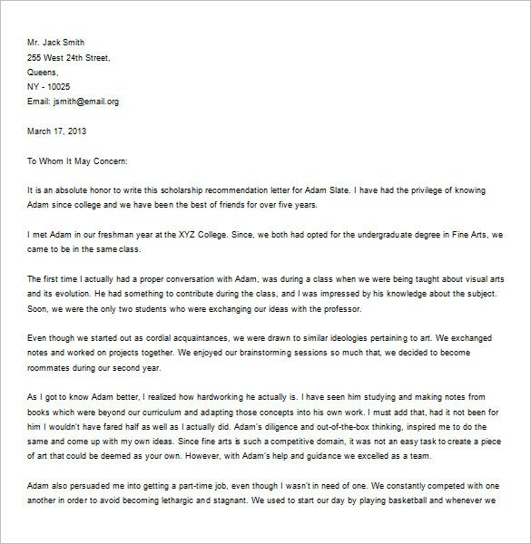 Recommendation Letter For A Friend   Free Word Excel Pdf