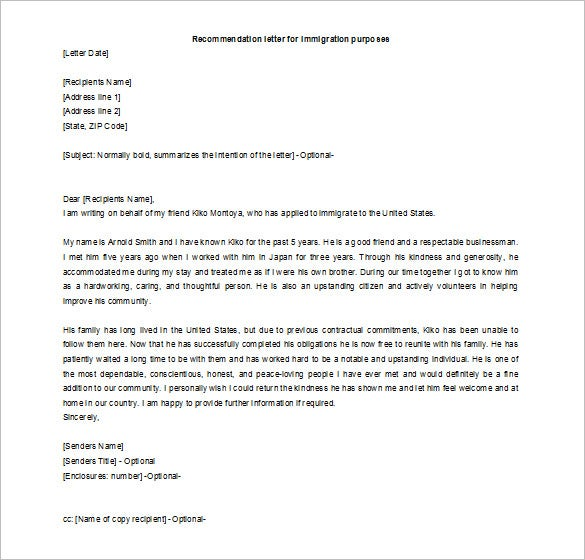 editable recommendation letter for a friend for immigration example