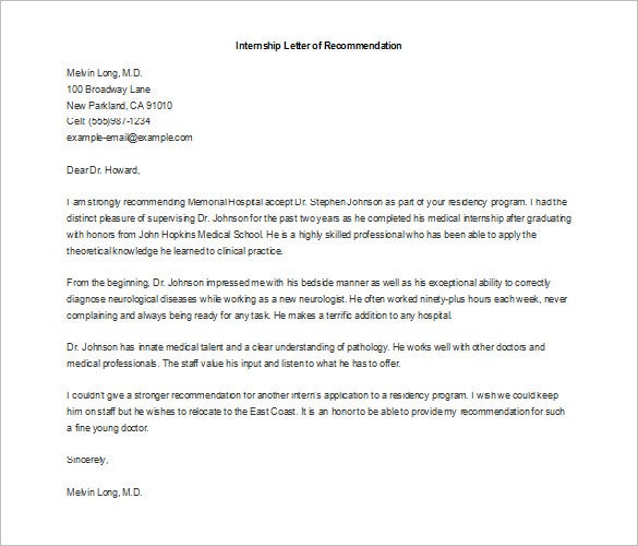 Letters Of Recommendation For Internship  Free Sample Example