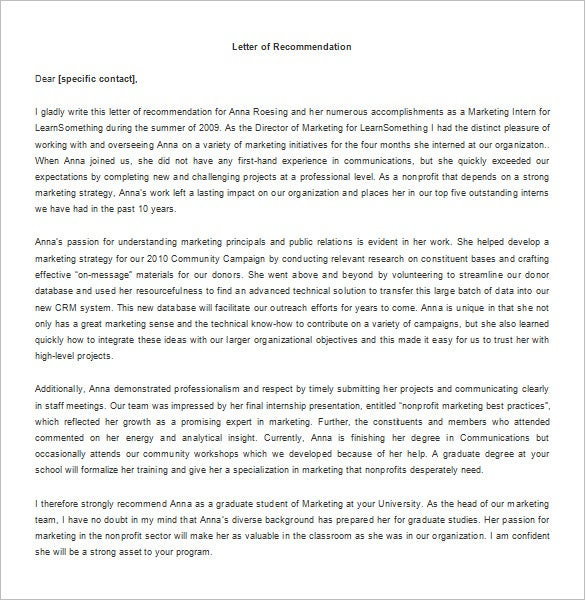 Letter of recommendation template for internship reference letters spiritdancerdesigns