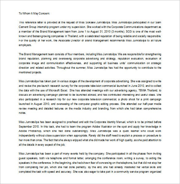 Letter Of Recommendation From Employer Internship Sample Download