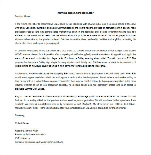 Recommendation Letter for Internship 8 Free Word Excel PDF – Template Recommendation Letter for Student