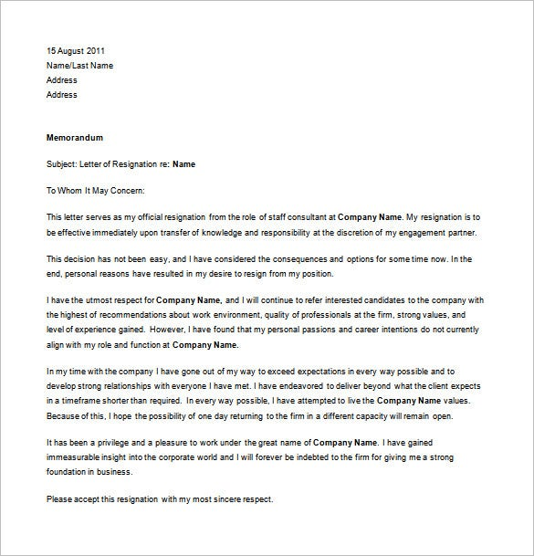 simple job resignation letter for personal reason free word format - How To Resign From A Job Reasons For Job Resignation