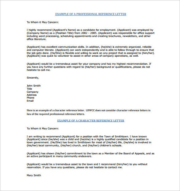 Lbwcc.edu The Sample Professional Character Recommendation Letter Template  Can Both Serve As A Professional And Character Recommendation Certificate  For ...  Free Sample Professional Letter Of Recommendation
