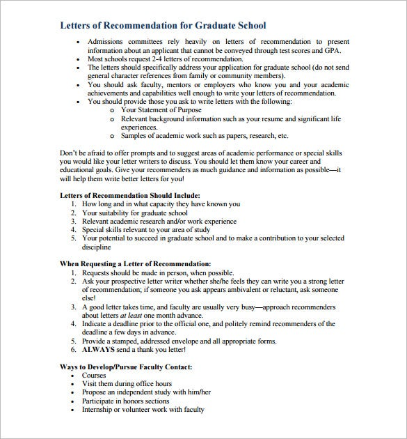 Letters Of Recommendation For Graduate School  Free Sample