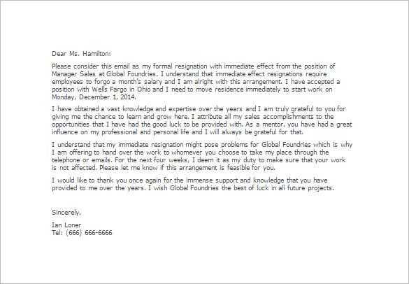 Immediate Resignation Letter Template