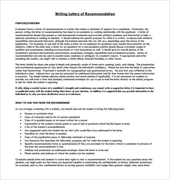 writing student letter of recommendation guidelines printable