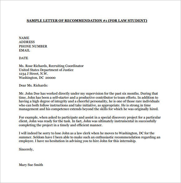Letter Of Recommendation Sample College