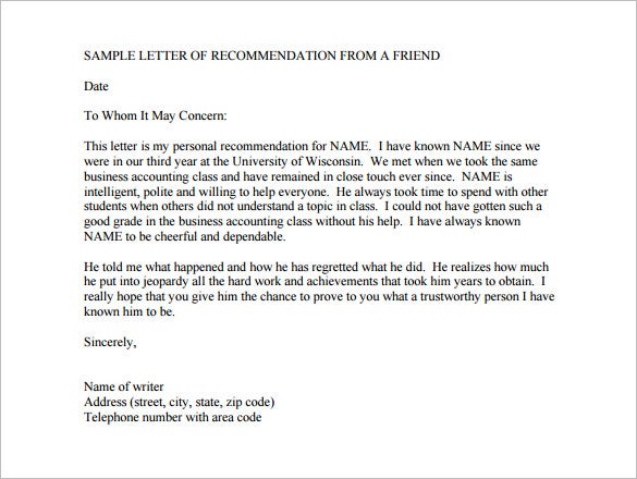 free college recommendation letter from a friend pdf format