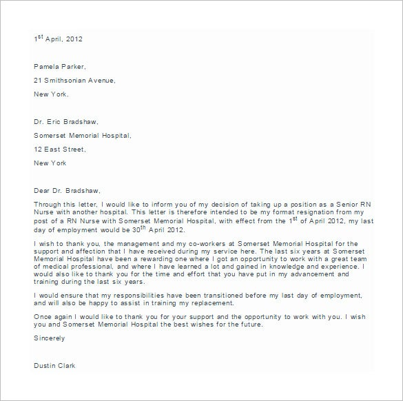 Delightful Example Of RN Nursing Resignation Letter Template In Nurse Resignation Letter