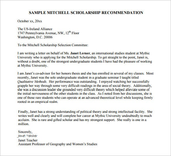 9+ Letters of Recommendation for Scholarship – Free Sample ...