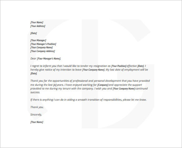 8 two week notice resignation letter templates free sample