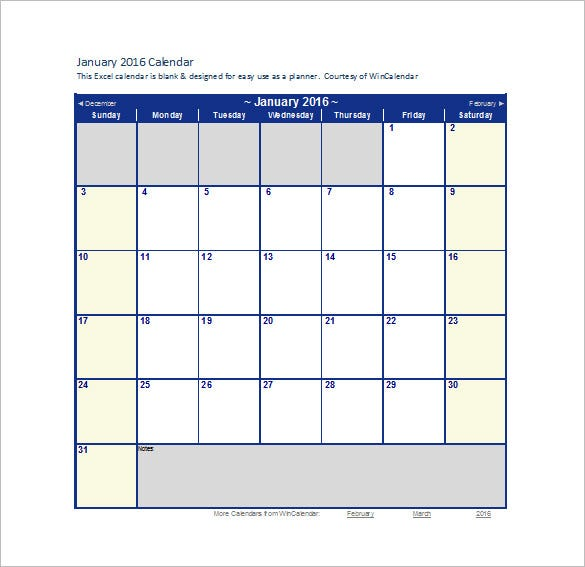 Blank 2016 Monthly Calendar Template In Excel Doc  Monthly Planner Template Word