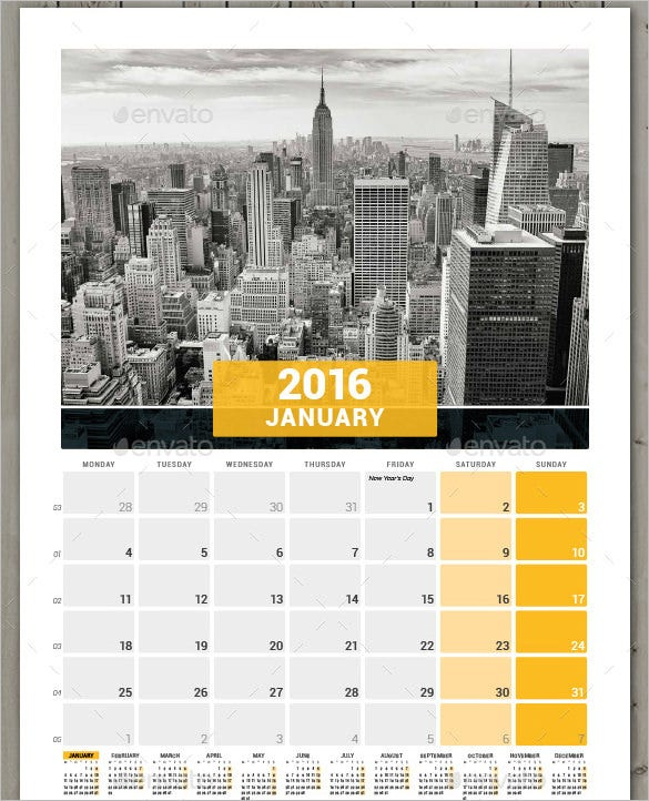 editable 2016 wall calendar week starts with monday