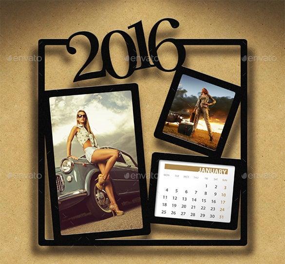 customizable 2016 calendar with photo frame