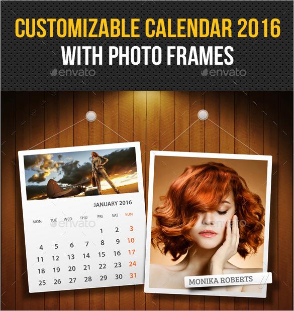 2016 photo calendar template customizable psd