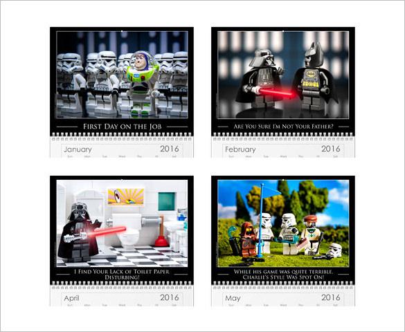 star wars photo calendar template for 2016 year