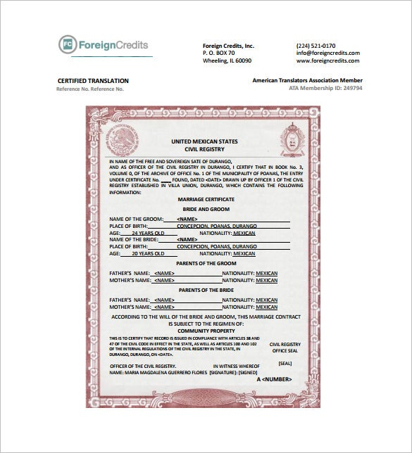 Certificate template 50 free printable word excel pdf psd marriage certificate translation template pdf yadclub Choice Image