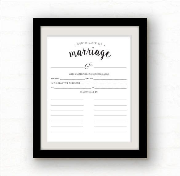 blank marriage certificate template download
