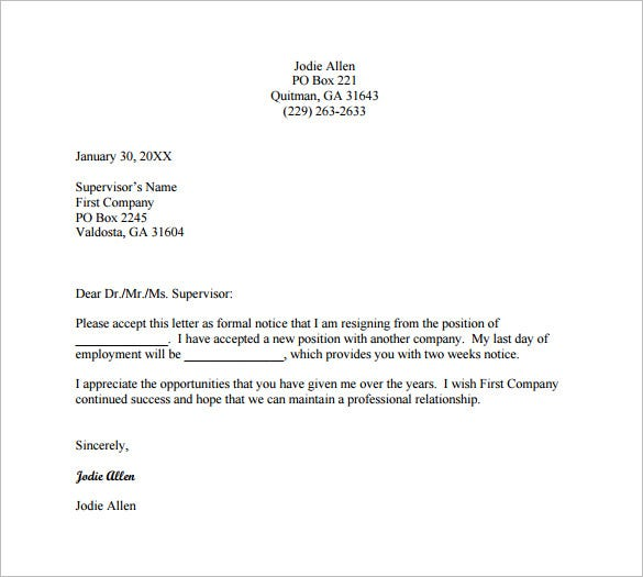 13 Employee Resignation Letter Templates Free Sample Example – Resignation Letter from a Position