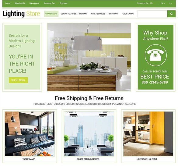 lighting store business opencart theme