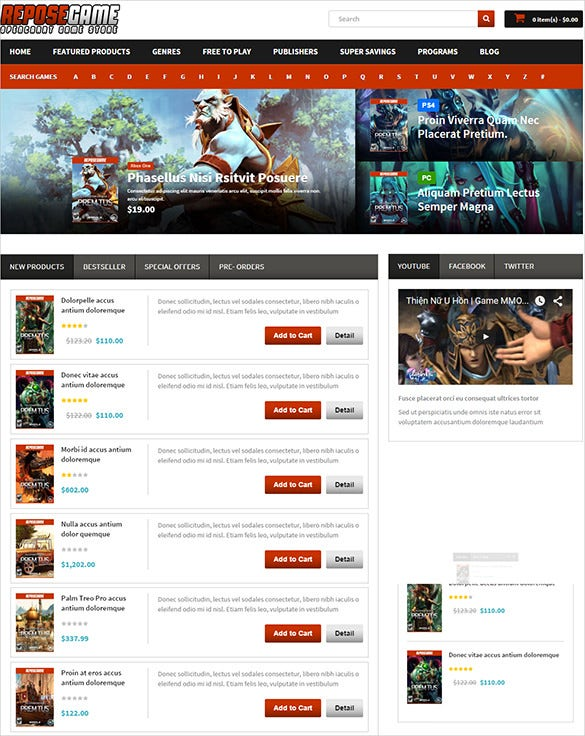 game store business opencart theme