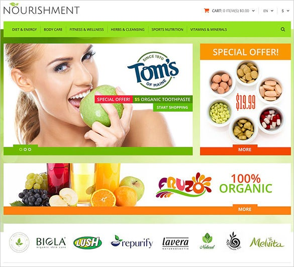 healthy sport business opencart template