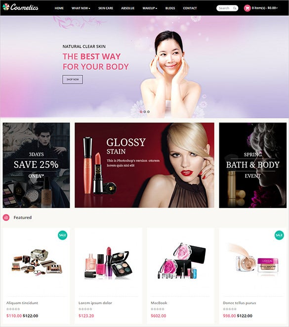 cosmetic business opencart theme