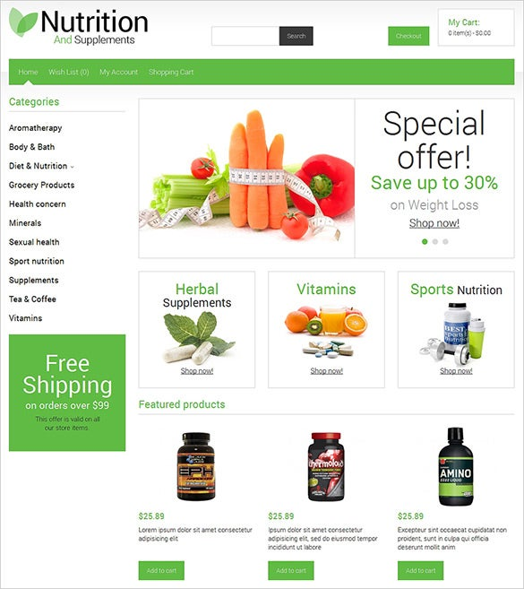 nutrition store business opencart theme