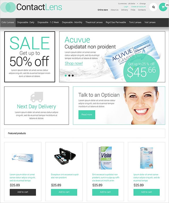 contact lens business virtuemart theme
